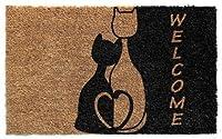 デザイナー ウェルカム天然コイル ノンスリップドアマット パティオ、玄関、全天候型の外装ドア ブラウン 猫2匹の動物付き