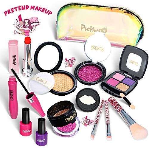 Pickwoo Kinderschminke Set Mädchen Pretend Makeup Set für Kinder 14 Stück Kinderschminke Spielzeug Kosmetiktasche Mit Glitter Kosmetiktasche Pretend Play Makeup Toy Geschenk für Mädchen ab 3 4 5 Jahre