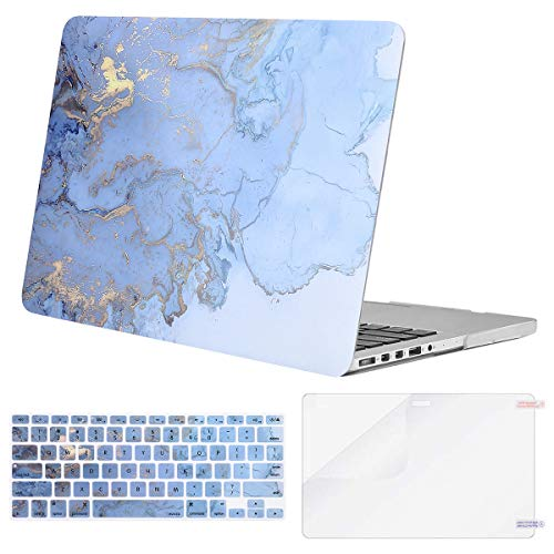 MOSISO Compatible with MacBook Pro 15 inch Case A1398 with Retina Display, Older Version, 2015 - end 2012 Release, Plastic Watercolor Marble Hard Shell Case & Keyboard Cover & Screen Protector, Blue