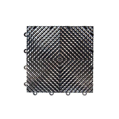 "IncStores Vented Nitro Garage Tiles 12""x12"" Interlocking Garage Flooring (Black - 52-12""x12"" Tiles)"
