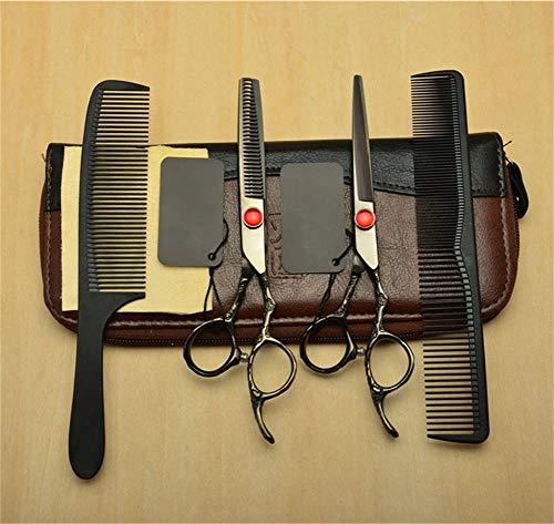 HJWL Ciseaux Coiffure, 6 Pouces Kit de Ciseaux de Coiffure Professionnel Rubis Coupe Nette et précise Ciseaux de Coupe de Cheveux for Salon de Coiffure Outils de Coiffure