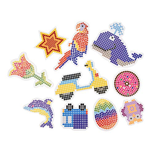 ewtshop® Bügelperlen Stiftplatten Set mit 10 verschiedenen Motiv-Formen, Steckplatten + Vorlagen zum sofortigen Loslegen