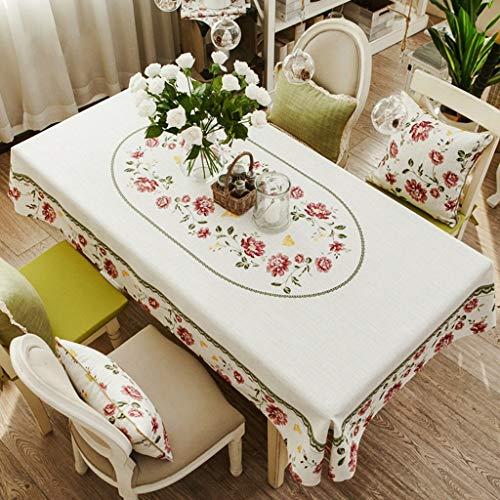 Tissu Nappe Coton Coton Rectangle Nordique Pastorale Couvercle de table antipoussière pour la cuisine Dinning Décoration de table Parties intérieures ou extérieures, utilisation quotidienne