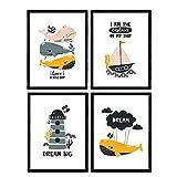 Packen vier Plakate mit Bildern von Walen. Blätter mit