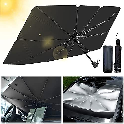 KOIROI Pare-Soleil Parapluie Voiture, Parapluie pour Voiture Pare-Brise, Pare-Soleil pliable, Windscreen Sun Shield UV, Adaptées à La Plupart des Véhicules (55 x 31 pouces)