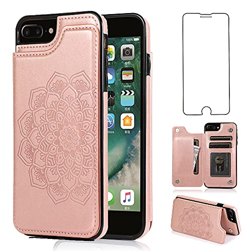 NKECXKJ Design for iPhone 7 Plus/8 Plus/7+/8+ Wallet Case,PU Leather Phone Case with Screen Protector Card Holder,Stand Kickstand Shockproof Flip Protective Cover for Women Girls 5.5 inch Rose Gold