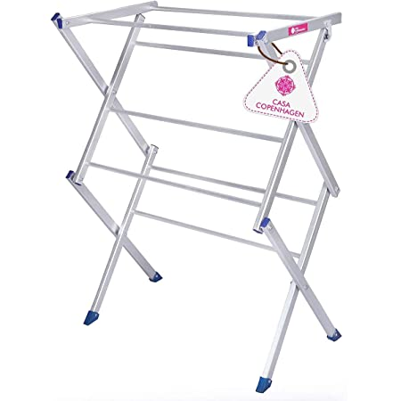 """Casa CopenhagenHeavy Duty Rust-Free Premium Aluminum Cloth Drying Stand/Clothes Dryer Stands/Laundry Racks with 7 Poll - Silver (30""""X42"""")"""