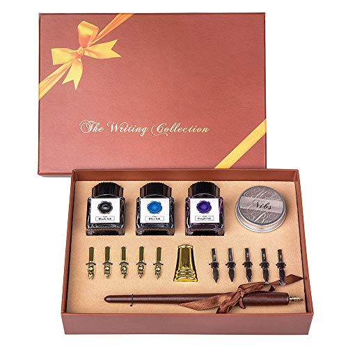 UBEART Calligraphy Pen Set With Gift Box-Includes Calligraphy Instruction,11 Nibs 3 Bottle Inks,Gold Pen Holder,Nibs Case.Wooden Dipping Pen Perfect Gift for Artist Beginner Birthday Graduation Gift