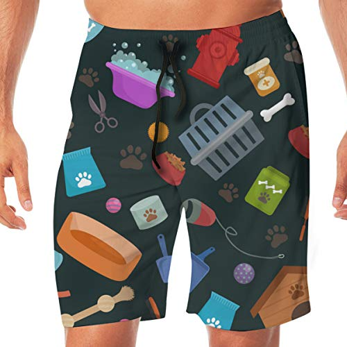 CVDGSAD Beach Pet Shop Dog Goods and Supplies Store Product Mens Swim Trunks Quick Dry Casual Beach Swim Shorts for Home & Outdoor