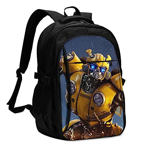Bumblebee Transformers Movie Cool WarriorMochilas antirrobo mochila de viaje de negocios con cable de carga USB/interfaz de auriculares para portátil