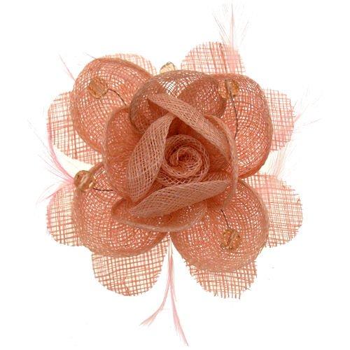 Acosta - Dorada Rosa de Plumas y Cuentas de lámpara de Techo con Cristales Rosa de Malla - diseño de Flores Broche con Forma de/Isla Japonesa de Pelo/Accessory