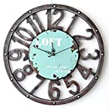 Reloj de pared vintage madera, teckpeak Reloj de pared 40cm Diámetro