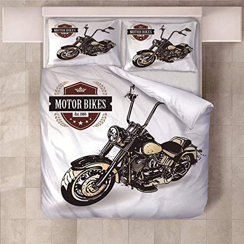 PERFECTPOT Single Duvet Cover Set Motorcycle Printed Bedding Duvet Cover Set in Polyester Quilt Bedding Sets with 2 Pillowcases for Adults Kids Children, 140x200cm
