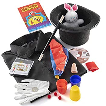Prextex Kiddie Magician Costume and Magic Tricks Set for Kids - Pretend Play Magician Role Play Dress Up Set with Exciting Magic Trick Props and 1 Full Hour Training Instruction DVD