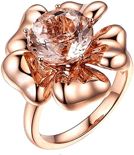 necklace Ladies fashion 9CT solid pillar stones rose gold promise ring wedding bride with stylish women, ring size: W Hoisting (Size : 52 * 16.5mm)