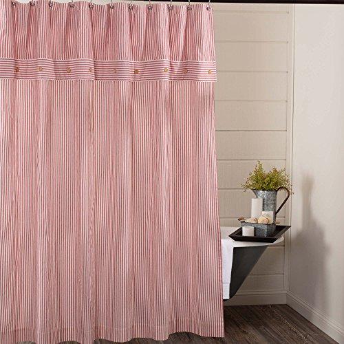 "Farmhouse Ticking Stripe Shower Curtain, 72"" x 72"", Red"