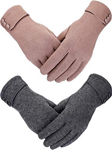 Sumind 2 Paar Damen Winter Handschuhe Warmer Plüsch Handschuh Gefüttert Winddicht Handschuhe für Damen und Mädchen (Khaki, Grau)