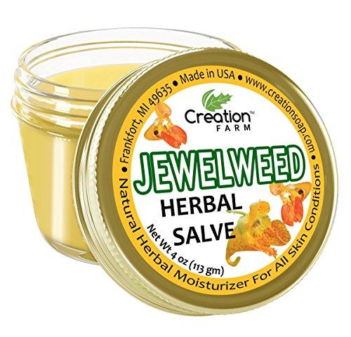 Creation Farm Jewelweed Balm, Poison Ivy Remedy, Herbal Tea Tree Salve Jar 4 oz Sensitive Skin Treatment Helps Tattoos, Soothes Rashes, Skin Fungus, No Gluten, No Parabens, No Soy, No GMO