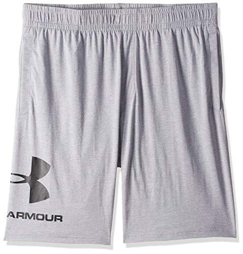 Under Armour Herren Sportstyle Cotton Logo Shorts ultraleichte und atmungsaktive kurze Hose, komfortable Sportshorts mit loser Passform, Grau, X-Large