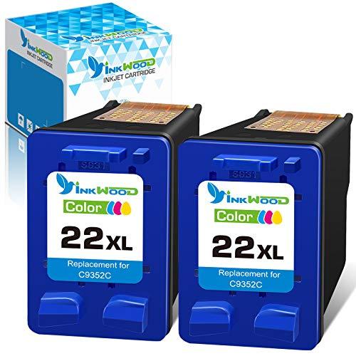 Inkwood 22 22XL Compatible con para HP Cartuchos de Tinta, para HP PSC 1410, Officejet 4315, Deskjet 3940 D1530 D2360 D2460 F380 F2180 F2224 F4180
