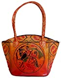 """Depicts Beautiful Ethnc Indian West Bengal Art Measuring approximately 13"""" wide and 9.5"""" High. Shoulder Strap Measures 22"""" long approx. Made in India"""