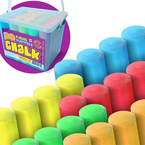 Sidewalk Chalk Sets For Kids For Outside Bulk Washable Chalk Bucket 20 Pieces