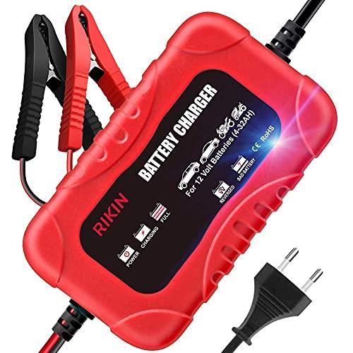 RIKIN Caricabatteria Auto 12V 2A Carica Batteria per Auto Moto Multi Protezioni di Carica per Auto Moto Barca
