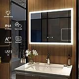 Meykoers Wandspiegel Badezimmerspiegel LED Badspiegel mit Beleuchtung 80x60cm, Spiegel mit Uhr,...