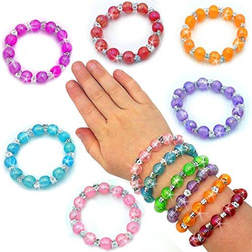 German Trendseller® - 12 x Schmuck perlen - Armbänder für Kinder Mix ┃ Kindergeburtstag ┃ Mitgebsel ┃ Kinderschmuck ┃ 12 Stück