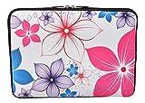 MySleeveDesign Laptoptasche Notebooktasche Sleeve für 10,2 Zoll / 11,6-12,1 Zoll / 13,3 Zoll / 14 Zoll / 15,6 Zoll / 17,3 Zoll - Neopren Schutzhülle mit VERSCH. Designs - Pink Flowers [15]