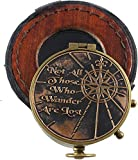 Antique Compass Brass Nautical Marine Collectible Vintage Compass with Box Not All Those who Wander are Lost
