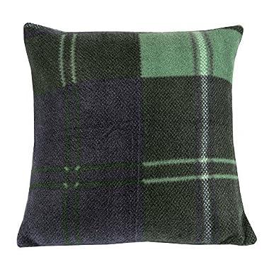 The Paragon Fleece Decorative Pillow Cover, Green/Navy Plaid