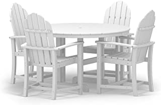 POLYWOOD PWS114-1-WH Classic Adirondack Dining 5-Pc. Set, White (Discontinued by Manufacturer)