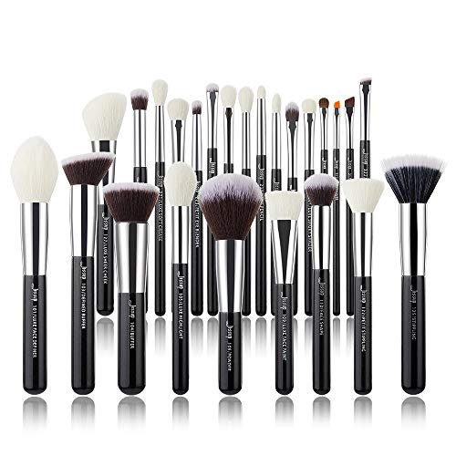 Jessup Make Up Pinsel Set 25 Pcs Kosmetik Schmink Bürsten Augen Gesicht Brushes Lidschatten Schwarz Silber Synthetische Natürliche Haare T175