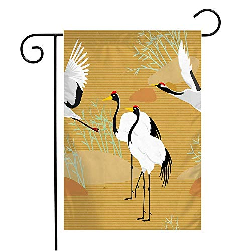 WSMLA Garden Flag Yard Decorations Paper East Pattern Cranes Seamless Animal Japanese Ornament Animals with Wildlife Textures Vintage Outdoor Small Polyester Flag Double Sided 12' x 18'
