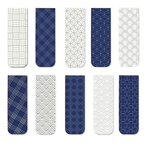 YOSCO Magnetic Bookmarks Sashiko Bookmark for Men Women Teens,10Pcs (Sashiko)