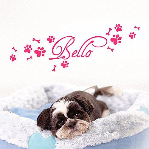 Grandora Wandtattoo Wunschname + Hundepfote Knochen I pink (BxH) 50 x 15 cm I Flur Wohnzimmer selbstklebend Aufkleber Wandaufkleber Wandsticker W806