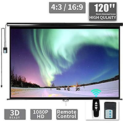 "120"" Motorized Projector Screen - Indoor and Outdoor Movies Screen 120 inch Electric 4:3 Projector Screen W/Remote Control"