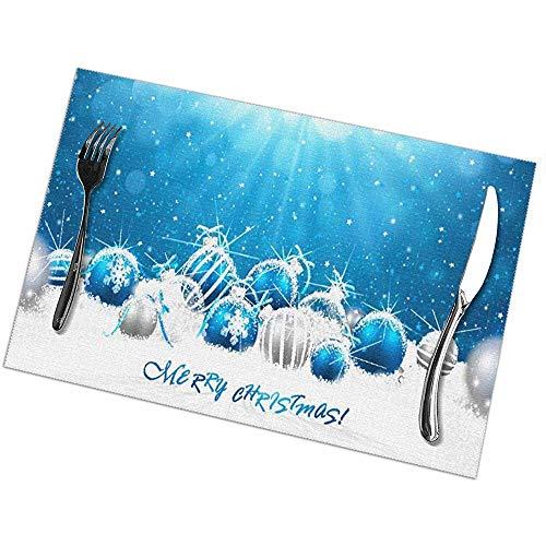 Palle di Natale Set di 6 tovagliette per tavolo da pranzo, stuoie antiscivolo resistenti alle macchie antisdrucciolevoli dell'isolamento termico della bevanda per la cucina pranzante, 45X30Cm