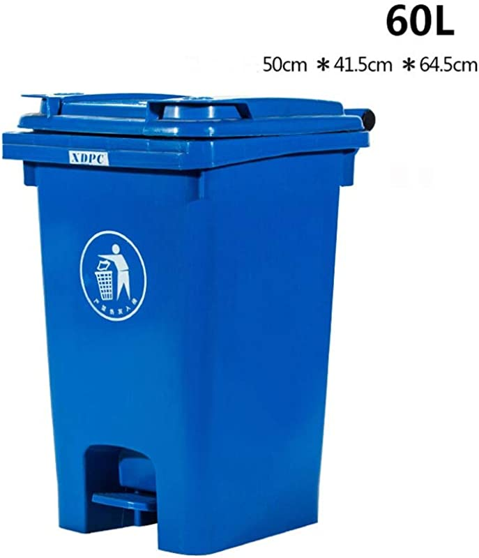 Kffc Big Trash Can Foot Open Cover Can Be Hung On The Car 40 60 Litre Blue Size 60 L