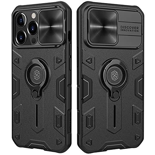 Nillkin CamShield Armor Kompatibel mit iPhone 13 Pro Hülle, mit Kameraschutz & 360° Drehbarer Ständer, Militärqualität Handyhülle für iPhone 13 Pro Hülle Schwarz