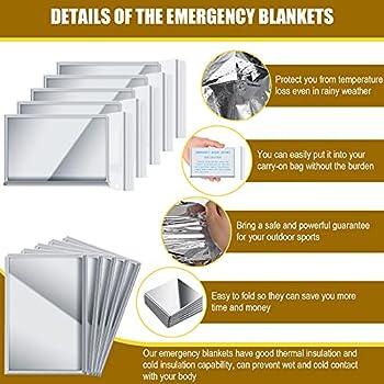 2 Pièces Couverture en Aluminium d'Urgence Couverture Thermique d'Urgence Mylar Argent Couverture Espace Réfléchissante Extérieure Couverture Isolante Couverture Survie, 51,2 x 82,7 Pouces