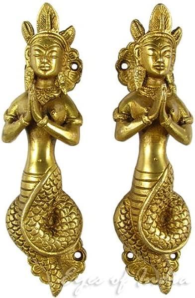 印度之眼 7 对金色黄铜蛇娜迦橱柜拉门把手古董青铜印度波西米亚风