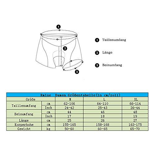 Rmine Damen Radunterhose 3D Gel Gepolsterte MTB Fahrrad Unterwäsche (Schwarz, L(64~110CM)) - 6