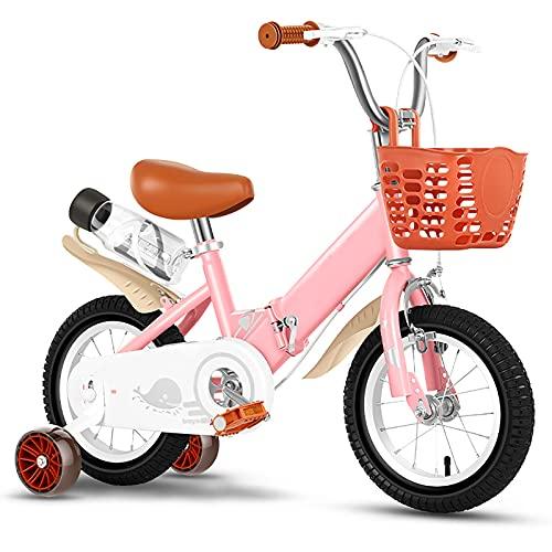 CKCL Bicicleta para Niños, Bicicleta para Principiantes para Niños Y Niñas 12 14 16 Ruedas De 18 Pulgadas Ruedas De Entrenamiento Plegables con Portabidón Y Canasta,Rosado,16inches
