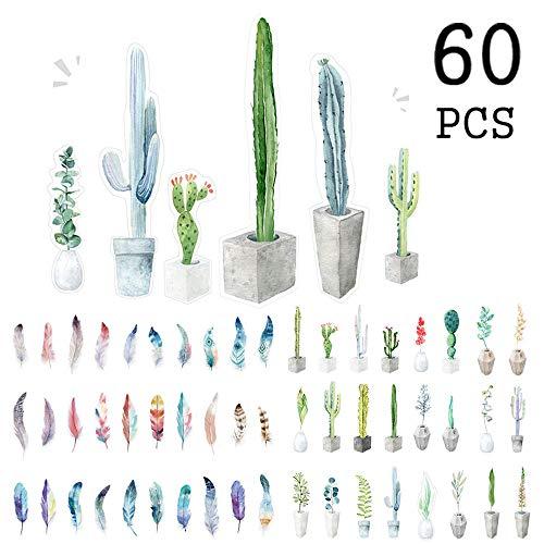 Segnalibri colorati a forma di piuma per uomo Donna Bambini Bambini Ragazzi, fiore giardino botanico Indicatore di libro foglia per studente (60 pezzi)