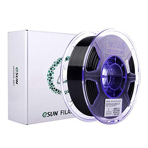 eSUN Filamento PETG 2.85mm, Stampante 3D Filamento PETG, Precisione Dimensionale +/- 0.05mm, Bobina da 1KG (2.2 LBS) Materiali di Stampa 3D per Stampante 3D, Nero Solido