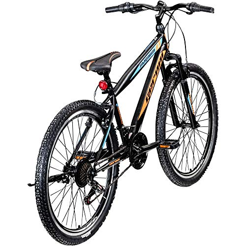 "Jugendfahrrad 26 Zoll Mountainbike Fahrrad 26"" Geroni Magnum Hardtai MTB Jugend (schwarz/orange/blau, 38 cm)"