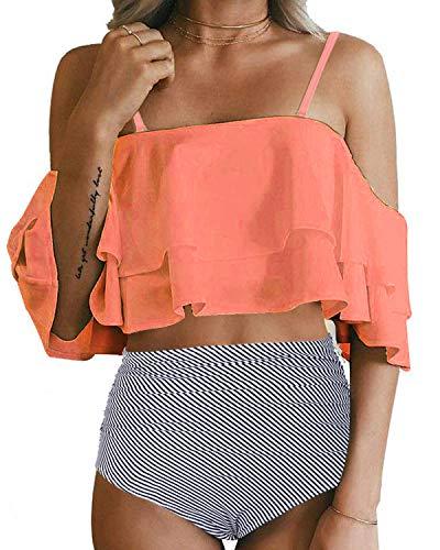Tempt Me Women Orange Two Piece Swimsuit High Waisted Bikini Off Shoulder Ruffle Bathing Suits XXL