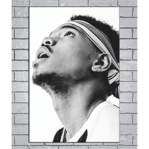 zzxywh Chance The Rapper Hip Hop Music Singer Star Black and White Print Antique Painting Poster Mural Picture Home Room Decor 50x70cm No Frame
